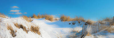 Maine Snow Dunes On Coast In Winter Panorama Art Print by Ranjay Mitra