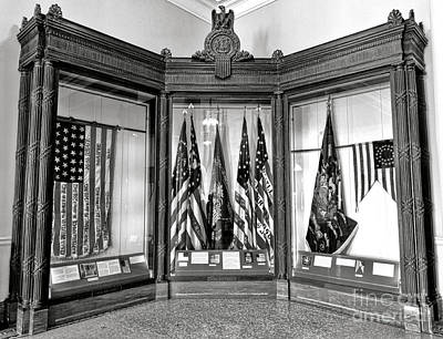 Civil Building Photograph - Maine State Capitol Hall Of Flags Civil War Display Case One by Olivier Le Queinec