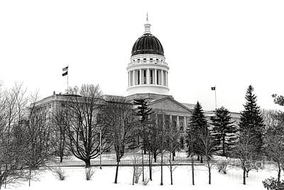 Photograph - Maine State Capitol In Winter by Olivier Le Queinec