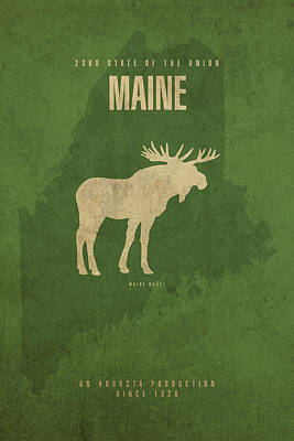 Augusta Mixed Media - Maine State Facts Minimalist Movie Poster Art by Design Turnpike