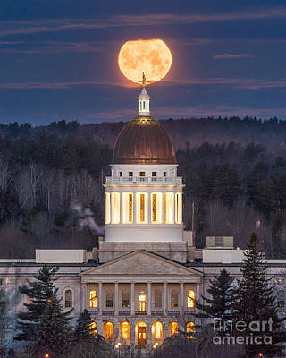 Maine State House Moon Art Print