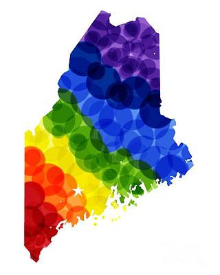 Mixed Media - Maine State In Rainbow by Julie Knapp