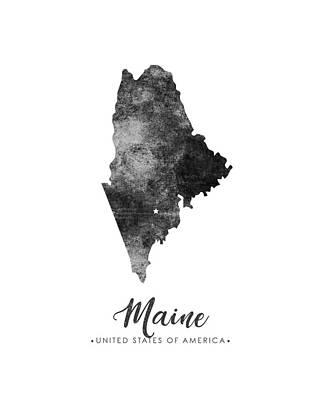 Geography Mixed Media - Maine State Map Art - Grunge Silhouette by Studio Grafiikka