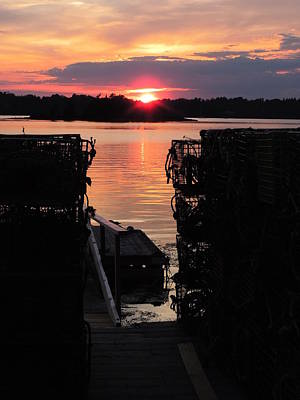 Maine Sunset And Traps Art Print