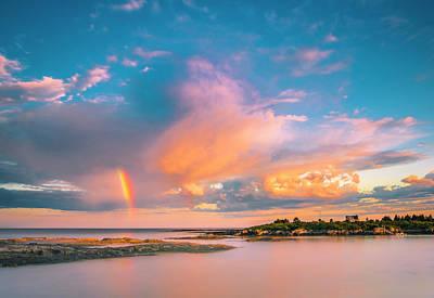 Maine Sunset - Rainbow Over Lands End Coast Art Print