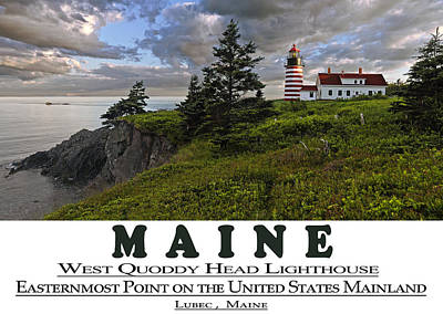 Photograph - Maine West Quoddy Head Lighthouse Version 2 by Marty Saccone