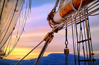 Photograph - Maine Windjammer On An Evening Cruise by Carolyn Derstine