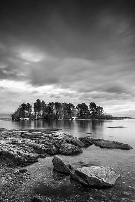 Photograph - Maine Winslow Park Rocky Coast Bw by Ranjay Mitra