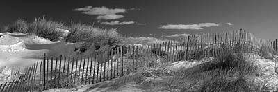 Photograph - Maine Winter Coastal Dunes Bw Panorama by Ranjay Mitra