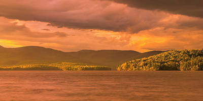 Photograph - Maine Winter Storm At Sunset Over Highland Lake Panorama by Ranjay Mitra