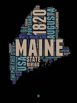 Us State Map Mixed Media - Maine Word Cloud 1 by Naxart Studio