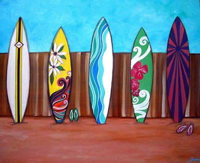 Surf Boards Painting - Mairi Surfboards by Pristine Cartera Turkus