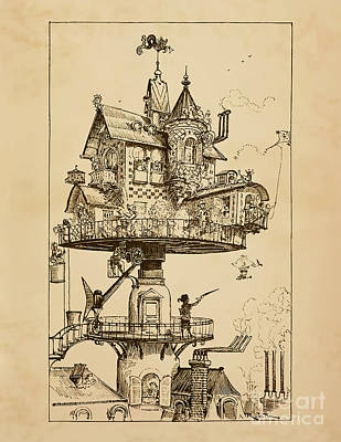 Steampunk Drawings - Maison Tournante Aerienne by Safran Fine Art