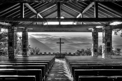 Photograph - Majestic Beauty Pretty Place Chapel Bw Symmes Chapel Art by Reid Callaway