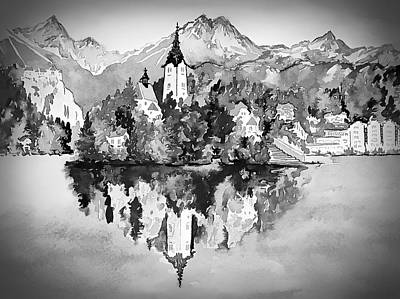 Digital Art - Majestic Bled Island  by Joseph Hendrix