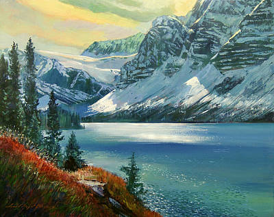 Alberta Painting - Majestic Bow River by David Lloyd Glover