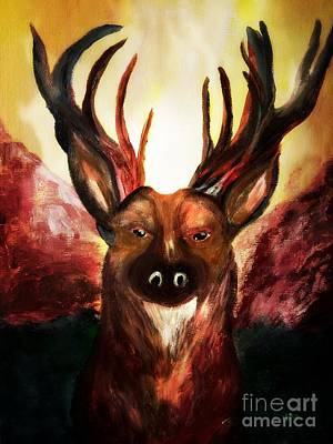 Painting - Majestic Buck At Sunset by Maria Urso