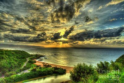 Photograph - Majestic Clouds Waimea Bay Sunset Hawaii Collection Art by Reid Callaway