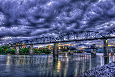 Photograph - Majestic Dusk Sky Chattanooga Bridge Art by Reid Callaway