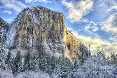 Photograph - Majestic El Capitan Winter Sunrise Yosemite National Park by Wayne Moran