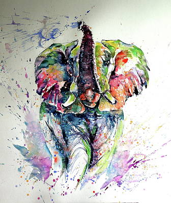Painting - Majestic Elephant Playing by Kovacs Anna Brigitta
