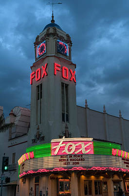 Photograph - Majestic Fox Theater Neon Tribute Merle Haggard by Connie Cooper-Edwards