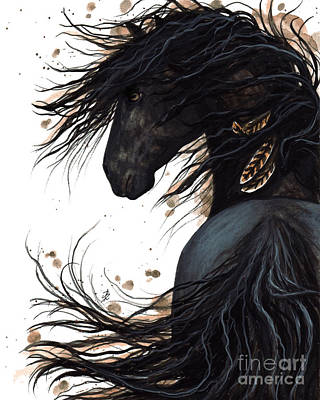 Black Friesian Painting - Majestic Friesian 143 by AmyLyn Bihrle