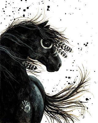 Mustang Painting - Majestic Friesian Spirit Horse by AmyLyn Bihrle