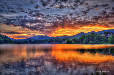 Majestic Glory Lake Junaluska Sunset Blue Ridge Mountains North Carolina Art Print by Reid Callaway