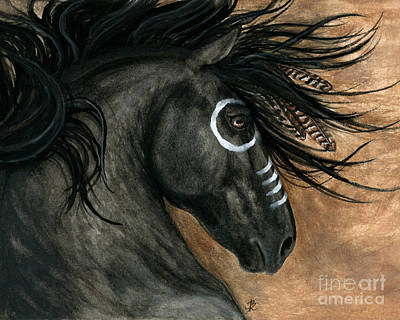 Native American War Horse Painting - Majestic Horse 130 by AmyLyn Bihrle