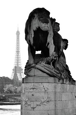 Photograph - Majestic Lion Statue Near Pont Alexandre IIi With Eiffel Tower Background Paris Black And White by Shawn O'Brien