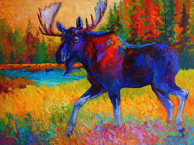 Marsh Painting - Majestic Monarch - Moose by Marion Rose
