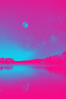 Royalty-Free and Rights-Managed Images - Majestic Night Sky over a lake, ca. 2017 by Adam Asar, Asar Studios 2 by Adam Asar