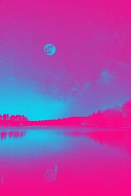 Majestic Night Sky Over A Lake, Ca. 2017 By Adam Asar, Asar Studios 2 Art Print