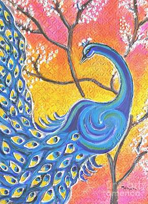 Painting - Majestic Peacock Colorful Textured Art by Manjiri Kanvinde