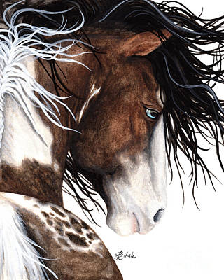 Native American War Horse Painting - Majestic Pinto Horse 140 by AmyLyn Bihrle