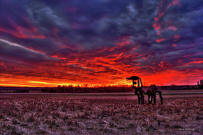 Time Magazine Photograph - Majestic Red Clouds Winter Sunset The Iron Horse Art by Reid Callaway