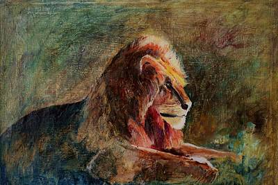 King Of Beasts Painting - Majestic Rular by Khalid Saeed