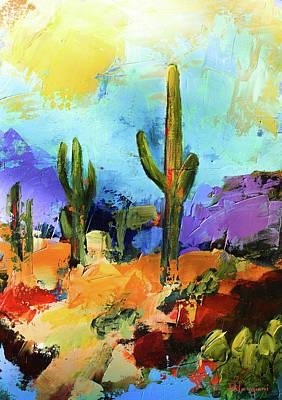 Painting - Majestic Saguaros by Elise Palmigiani