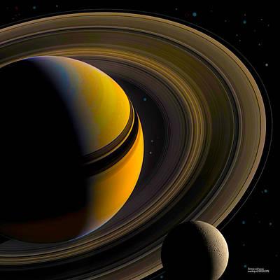 Digital Art - Majestic Saturn by Chuck Mountain