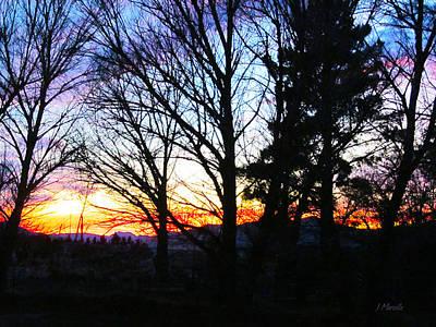 Desert Sunset Digital Art - Majestic Sunset Over Shadow Mountain by J Marielle