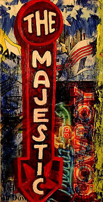 Majestic Theater Marquee Original by Katrina Rasmussen