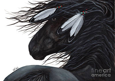 Black Friesian Painting - Majestic White Feathers Horse 145 by AmyLyn Bihrle