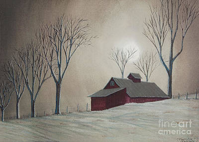 Barn Poster Painting - Majestic Winter Night by Charlotte Blanchard