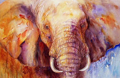 Yellow Elephant Painting - Majestic_ IIi by Arti Chauhan