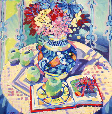 Painting - Majolica And Quimper Still Life by Doris  Lane Grey