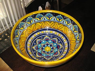 Ceramic Art - Majolica Style Bowl by Deirdre DeLay