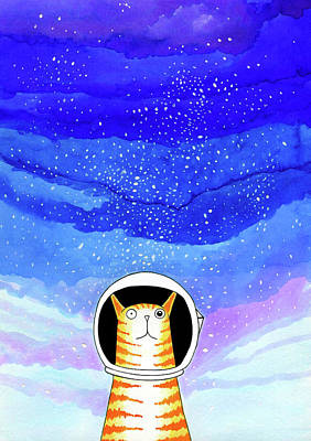 Orange Cat Wall Art - Painting - Major Tom  by Andrew Hitchen