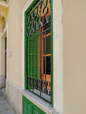 Photograph - Majorca Iron Shutter Window by Herb Paynter