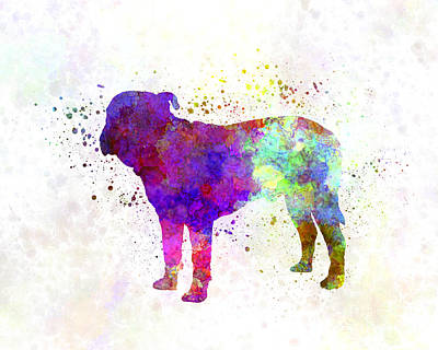 Bull Mastiff Painting - Majorca Mastiff In Watercolor by Pablo Romero